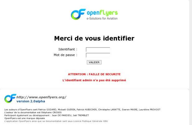 page d'accueil avant modification du compte admin